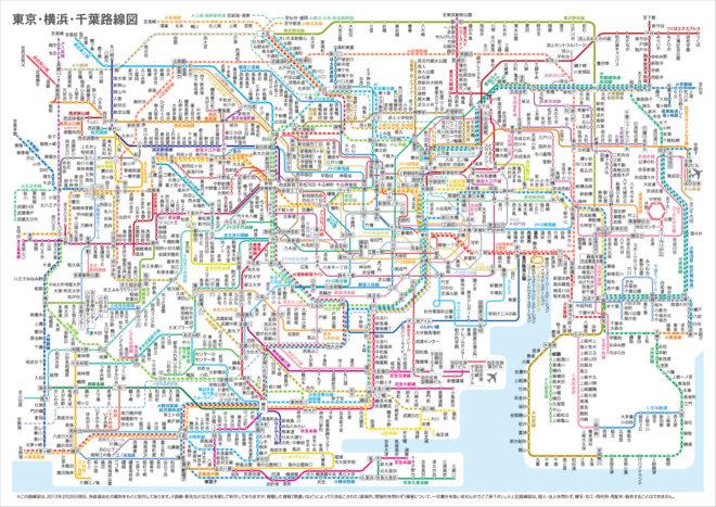 東京路線図、まるで毛細血管!